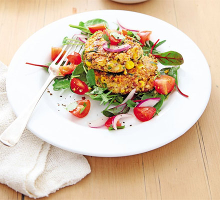 Cheesy bean & sweetcorn cakes with quick salsa
