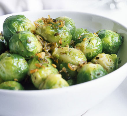 Juniper-glazed sprouts
