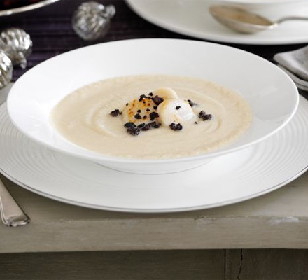 Celeriac soup with scallops & black pudding