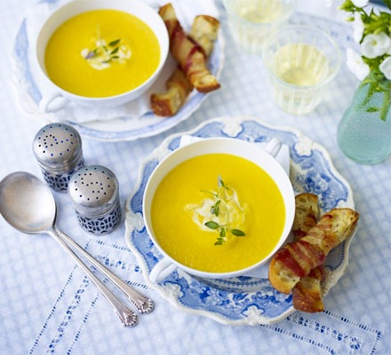 Roast carrot soup with pancetta croutons