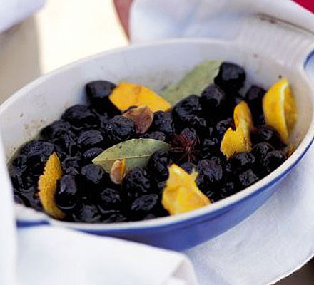 Baked olives with orange & bay
