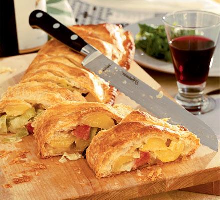 Leek, potato & ham flip-over pie
