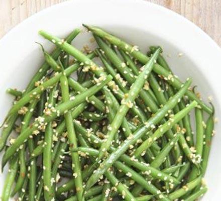 Sesame & ginger green beans