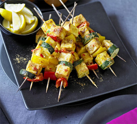 Spicy paneer skewers