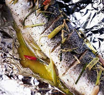 Baked sea bass with lemongrass & ginger
