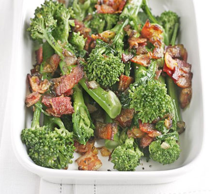 Tenderstem broccoli with sautéed onions & bacon