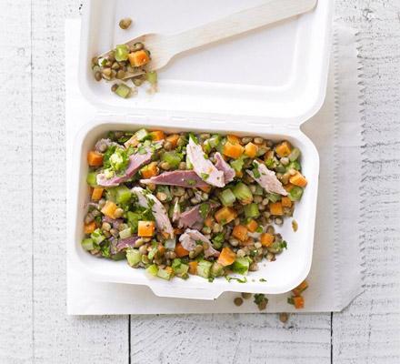 Lentil, carrot & ham salad