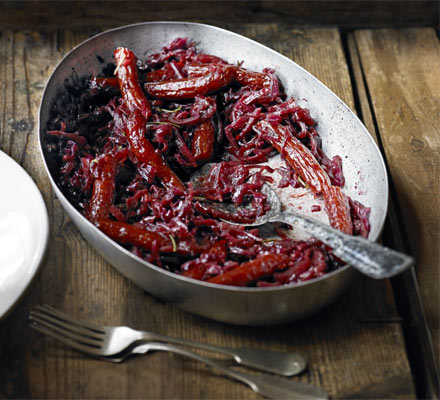 Rosemary braised red cabbage with kabanos