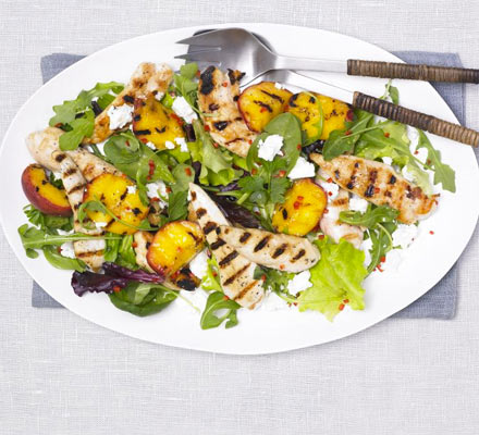 Grilled peach, chicken & feta salad