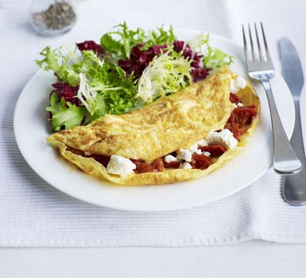 Feta & semi-dried tomato omelette