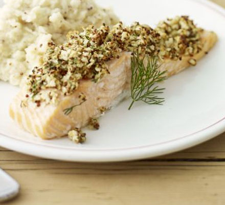 Mustard-crusted salmon with celeriac mash