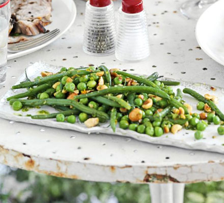 Bean, pea & hazelnut salad