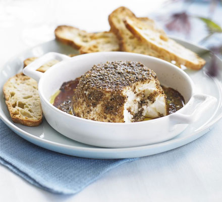 Coriander-baked ricotta with pomegranate molasses