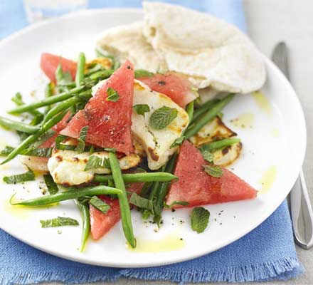 Halloumi, watermelon & mint salad