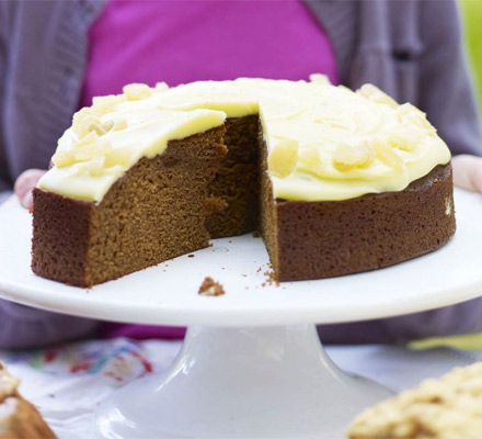 Ginger cake with caramel frosting