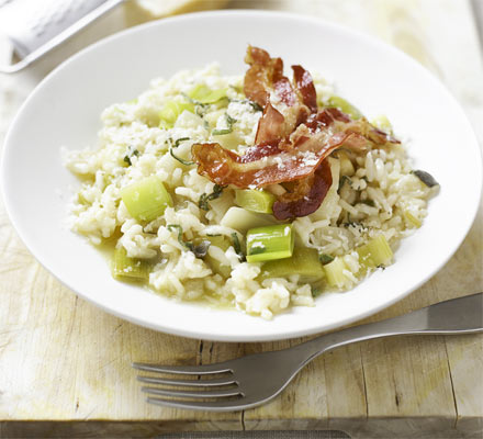 Leek & sage risotto with crisp bacon