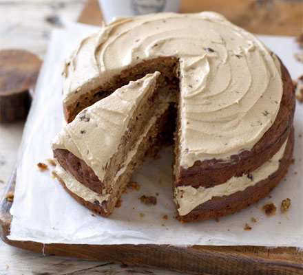 Apple & walnut cake with treacle icing