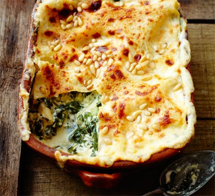 Spinach & pine nut lasagne