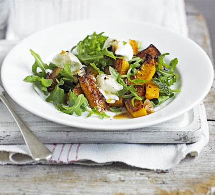 Warm squash & rocket salad with garlic vinaigrette