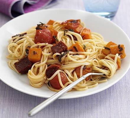 Butternut & chorizo spaghetti