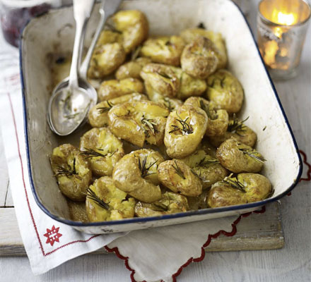 Squashed baby potatoes with rosemary