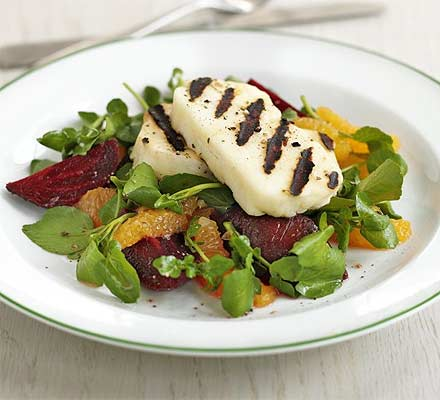 Griddled halloumi with beetroot & orange