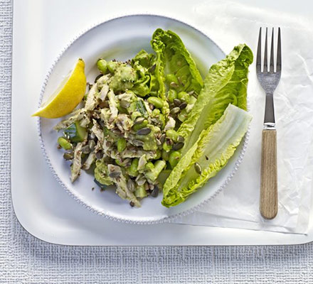 Vitality chicken salad with avocado dressing
