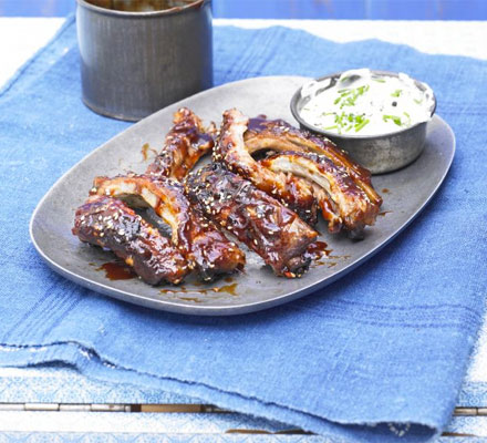 Stickiest-ever BBQ ribs with chive dip