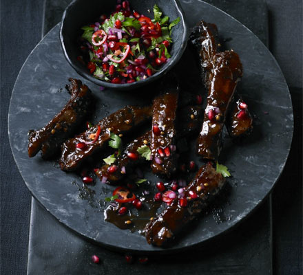 Sweet & sour ribs with pomegranate salsa