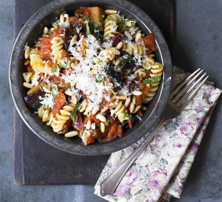 Sicilian aubergine, pine nut & raisin fusilli