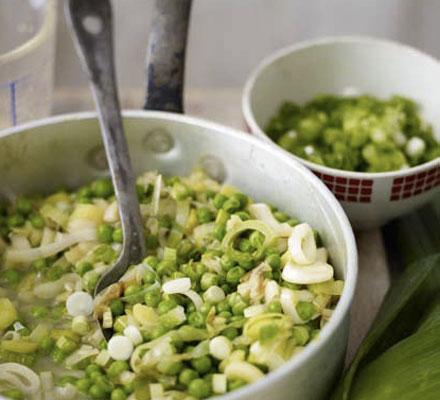 Buttered peas & leeks