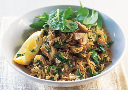 Spinach, mushroom & lemon pilaf
