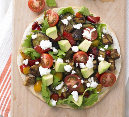 Roasted vegetable & feta tostada
