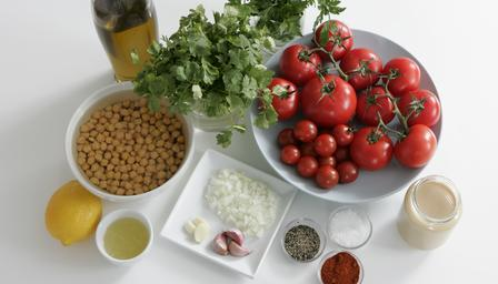 Chickpea and tomato salad with tahini dressing