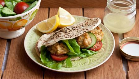 Homemade falafels with salad and pitta bread