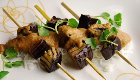 Aubergine satay kebabs