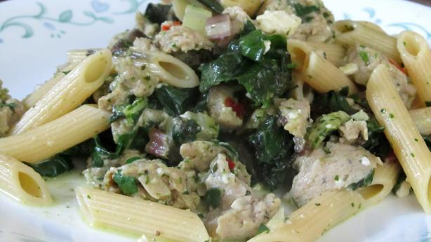 Penne With Spicy Sausage and Chard