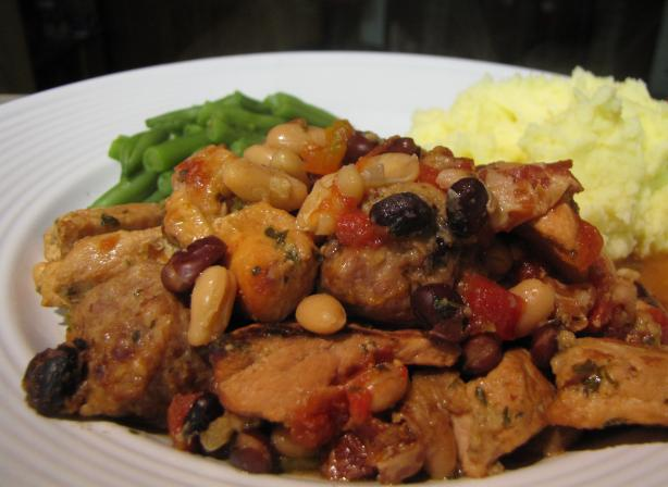 Slow, Comfortable Piquant Pork and Bacon Cassoulet (Crock Pot)