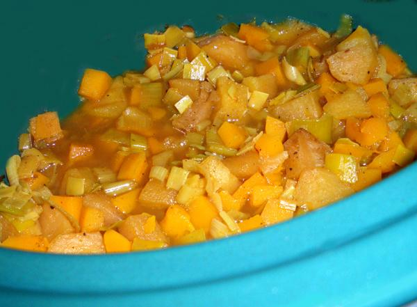 Curried Squashy Apples & Leeks