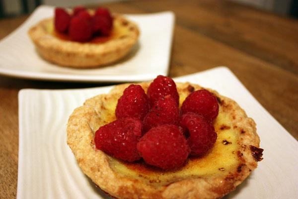Raspberry Crème Brûlée Tartlets