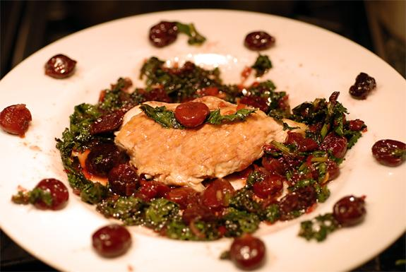 Chicken With Cherries and Kale