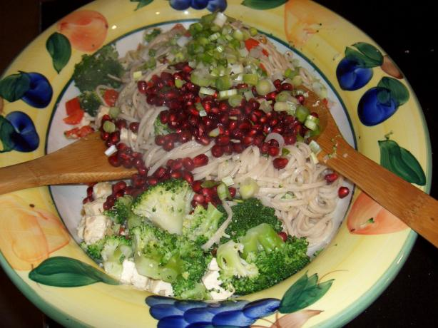 Udon Noodles With Walnuts and Pomegranates