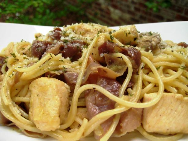 Awesome Spaghetti Carbonara W/ Chicken