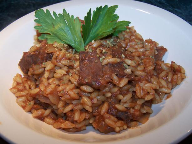 Steak and Orzo in Tomato-Oregano Sauce