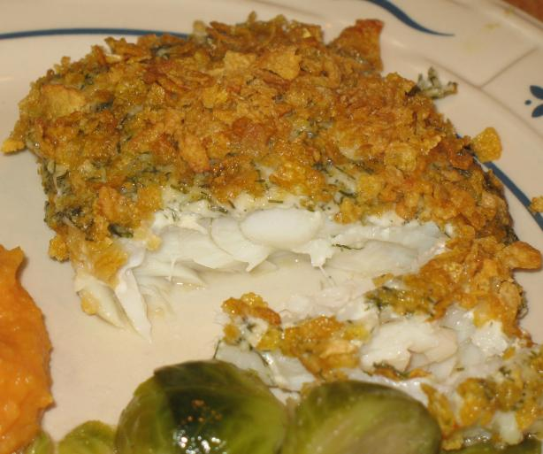 Acadia's Cod Smothered in Corn Flakes
