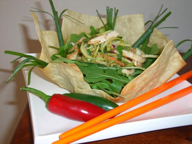 Thai Chicken Salad in a Spring Roll Bowl