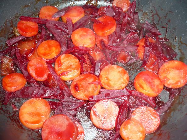 Sauteed Beets With Carrot Medallions