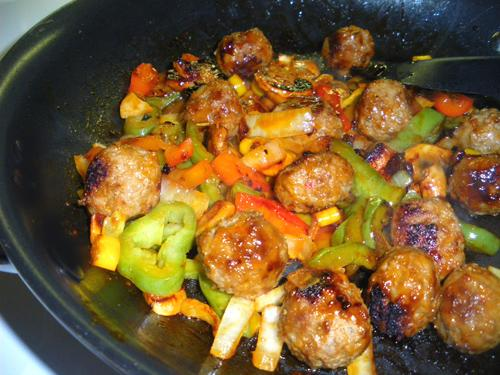 Easy Meatballs and Peppers
