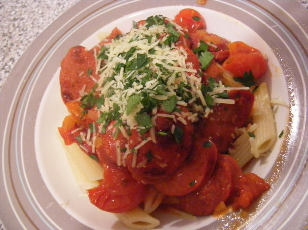 Rigatoni With Chorizo and Tomato