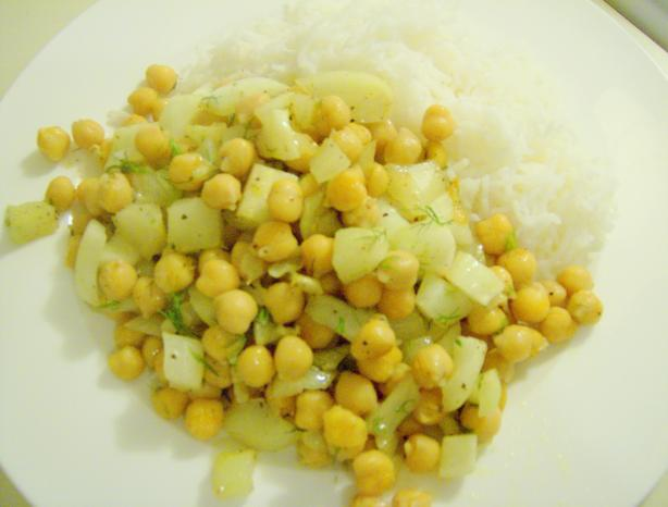 Chickpeas and Fennel With Rice